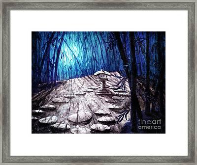 Shinto Lantern In Stark Moonlight Framed Print
