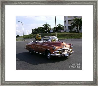 Shiny Cab At Varadero Beach Framed Print by Laurel Fredericks