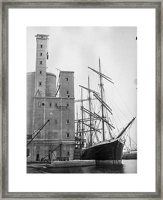 Ship And Silo Framed Print