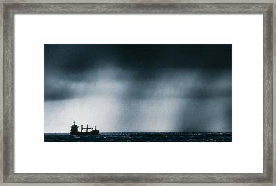 Ship At Sea Caught In Stormy Weather Framed Print by Geoff Tompkinson