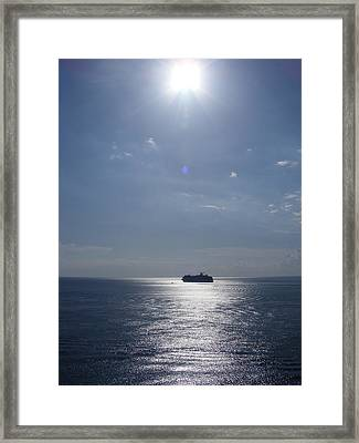 Ship In The Sea Framed Print by Charles Covington