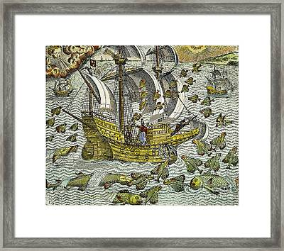 Ship Of Discovery, 1592 Framed Print by Granger