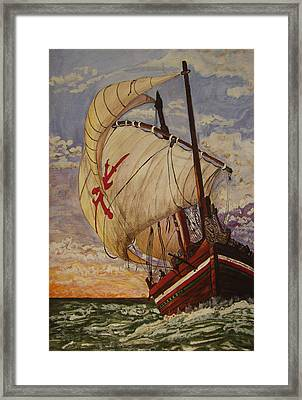 Ship On A Tossing Sea Framed Print