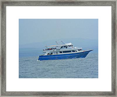 Ship Sailing With People Framed Print by Jenny Senra Pampin