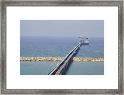 Ship Unloads Coal At The Pier Framed Print