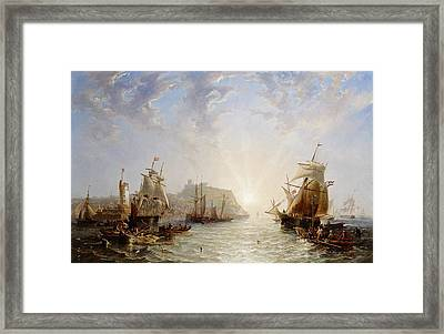 Shipping Off Scarborough Framed Print by John Wilson Carmichael