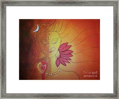Shivshakti - Ardhnaarishwar Framed Print by Anu Darbha