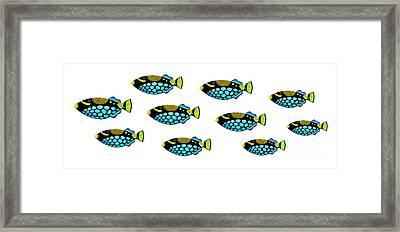 Shoal Of Clown Triggerfish  Framed Print by Opas Chotiphantawanon