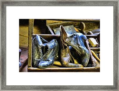 Shoe - Vintage Ladies Boots Framed Print by Paul Ward