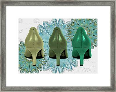 Shoes In Shades Of Green Framed Print