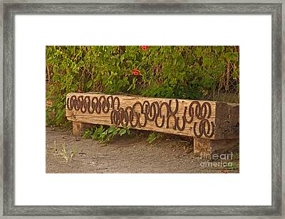 Shoes On The Bench Framed Print by Bob and Nancy Kendrick