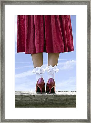 Shoes On Wooden Board Framed Print