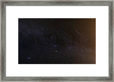 Shooting Stars And A Comet Framed Print by Laurent Laveder