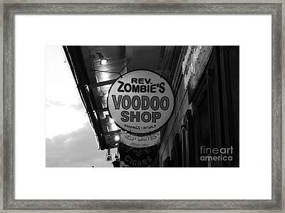 Shop Signs French Quarter New Orleans Black And White Framed Print