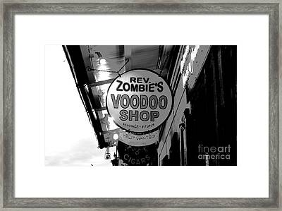 Shop Signs French Quarter New Orleans Conte Crayon Digital Art Framed Print