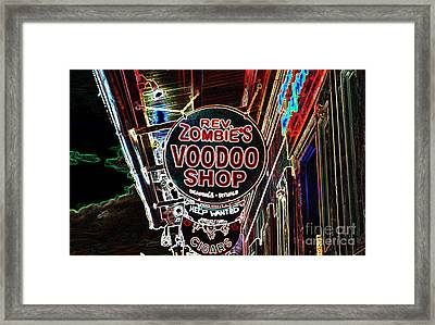 Shop Signs French Quarter New Orleans Glowing Edges Digital Art Framed Print