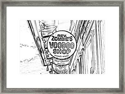 Shop Signs French Quarter New Orleans Photocopy Digital Art Framed Print by Shawn O'Brien