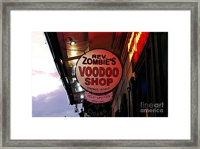 Shop Signs French Quarter New Orleans Watercolor Digital Art Framed Print
