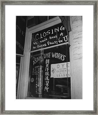 Shop Window Of The Japanese American Framed Print by Everett