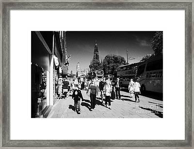 Shoppers And Tourists On Princes Street Edinburgh Scotland Uk United Kingdom Framed Print by Joe Fox