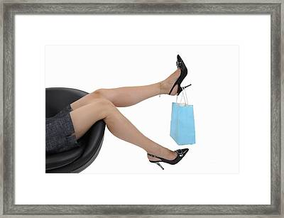 Shopping Bag Hanging On Woman's High Heels Framed Print by Sami Sarkis