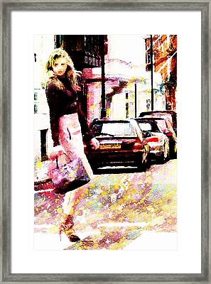 Framed Print featuring the digital art Shopping Girl by Andrea Barbieri
