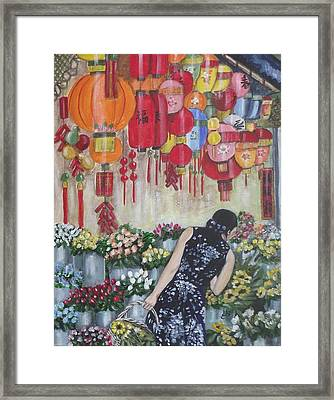 Shopping In Chinatown Framed Print by Kim Selig