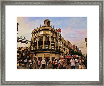 Shopping On The Bund - Shanghai China Framed Print by Helaine Cummins