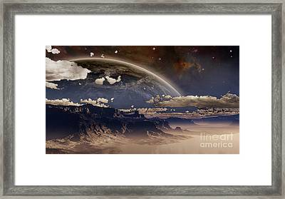 Shore In Mist On An Extraterrestrial Framed Print