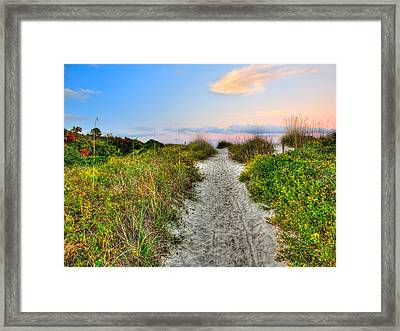Shoreline Path To View Morris Island Lighthouse Framed Print by Jenny Ellen Photography