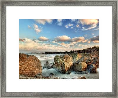 Shoreline Rocks And Fence Posts Folly Beach Framed Print by Jenny Ellen Photography