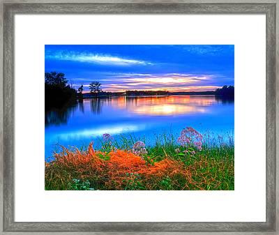Framed Print featuring the photograph Shoreline Sundown by Randall Branham