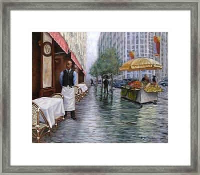 Shower On Sixth  Avenue Framed Print by Victor Zucconi