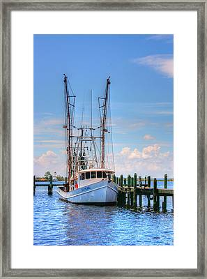 Shrimp Boat At Dock Framed Print by Barry Jones