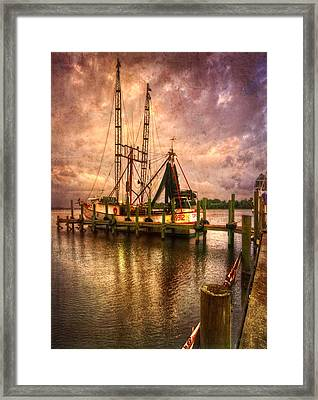 Shrimp Boat At Sunset II Framed Print by Debra and Dave Vanderlaan