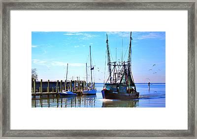 Shrimp Boat On Shem Creek Framed Print by Pat Exum