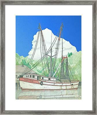 Shrimp Boat Sally Faye Framed Print by Calvert Koerber