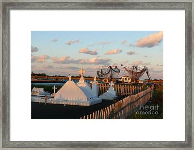 Framed Print featuring the photograph Shrimp Boats And Cemetery by Jeanne  Woods