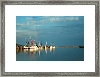 Framed Print featuring the photograph Shrimp Boats In Darien 2 by Mary Hershberger