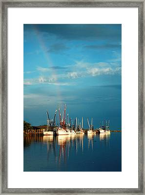 Framed Print featuring the photograph Shrimp Boats In Darien by Mary Hershberger