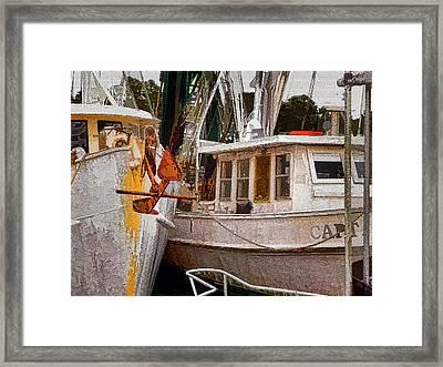 Shrimp Boats Framed Print by Larry Bishop