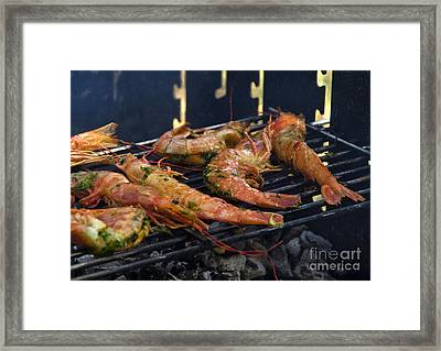 Shrimp On Bbq Framed Print by Perry Van Munster