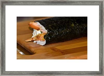 Shrimp Sushi Roll On Cutting Board Framed Print by Carolyn Marshall