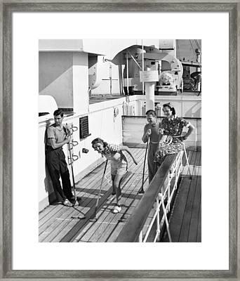 Shuffleboard Players Framed Print by George Marks