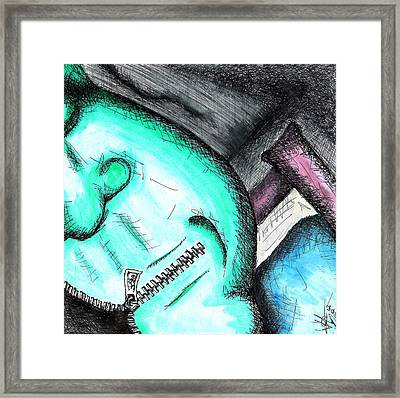 Shut Your Mouth 2 Framed Print by Jera Sky