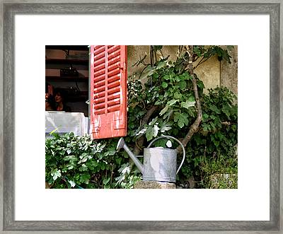 Shutters And Watering Can Framed Print by Sandra Anderson