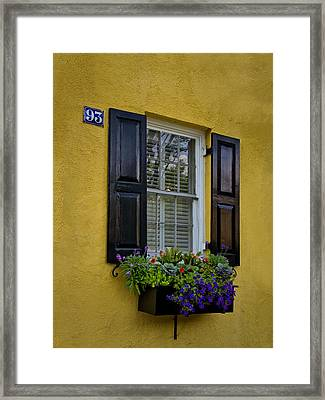 Shutters And Window Boxes Framed Print by Sandra Anderson