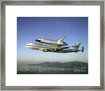 Shuttle Atlantis Piggyback, Boeing 747 Framed Print by Nasa