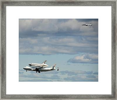 Shuttle Enterprise And Escort Framed Print by Roni Chastain