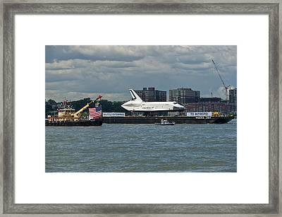 Shuttle Enterprise Flag Escort Framed Print by Gary Eason